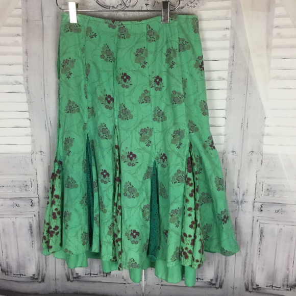 Ikks Dresses & Skirts - IKKS Green Boho Pleated Flower Midi Godet Skirt 26